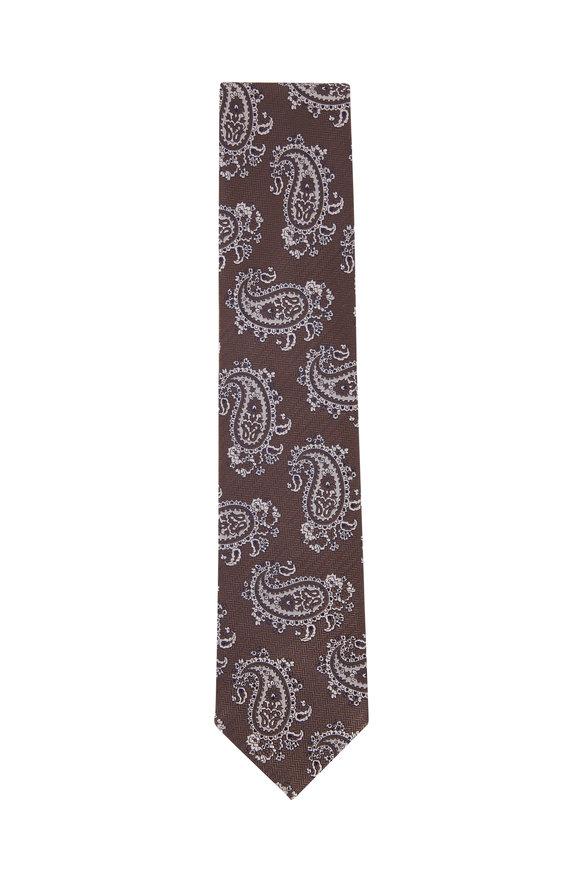 Brioni Brown & White Large Paisley Silk Necktie