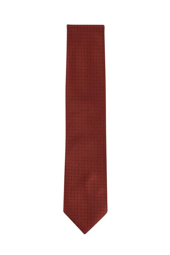 Brioni Copper & Brown Dots Silk Necktie