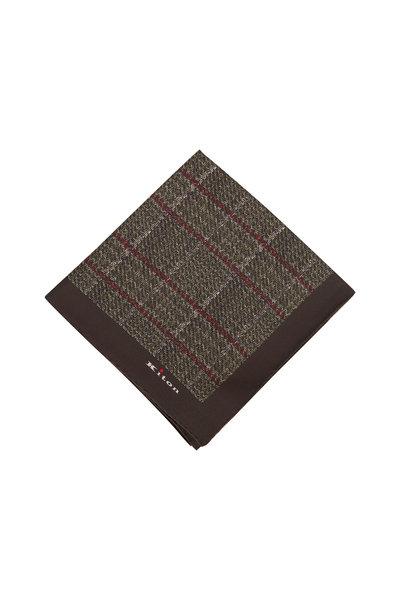 Kiton - Olive Plaid Silk Pocketsquare