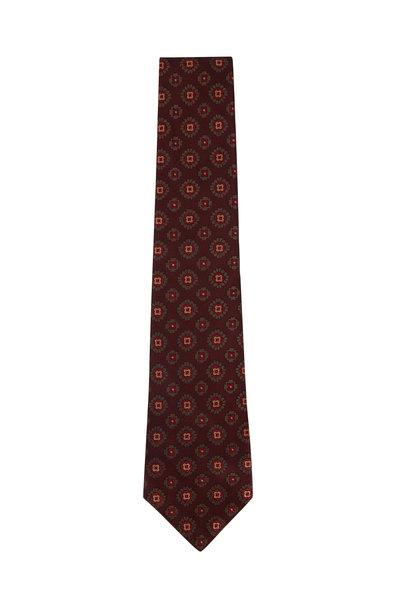 Kiton - Faded Red & Beige Medallions Silk Necktie