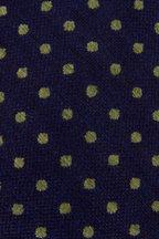 Kiton - Navy & Small Green Dots Silk Necktie