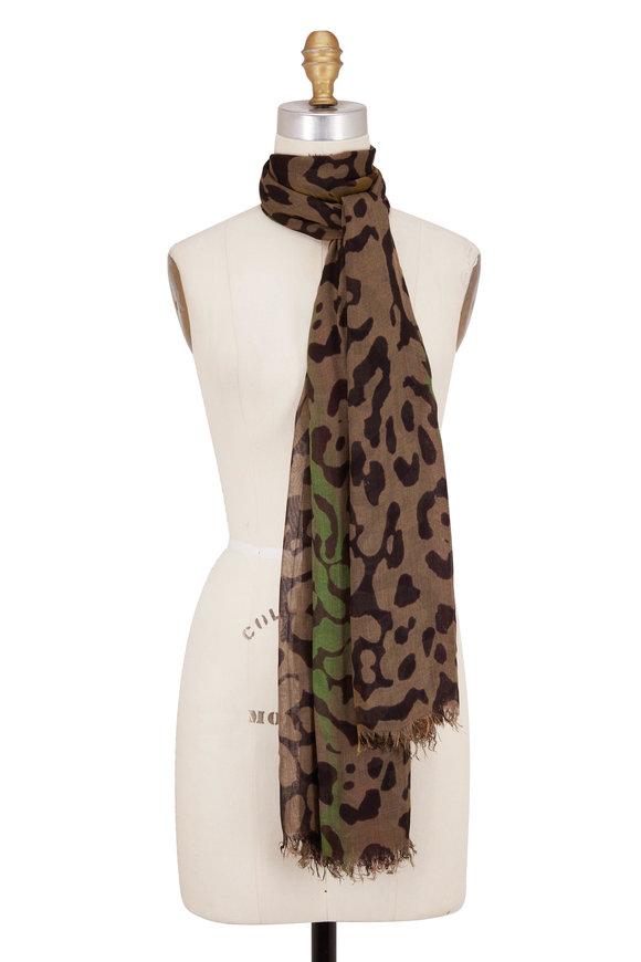 Faliero Sarti Olive Leopard Modal & Cashmere Scarf