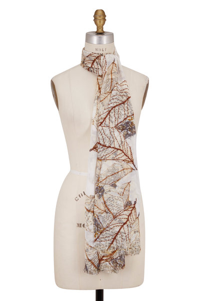 Faliero Sarti - Natural Ramage Embroidered Leaves Scarf