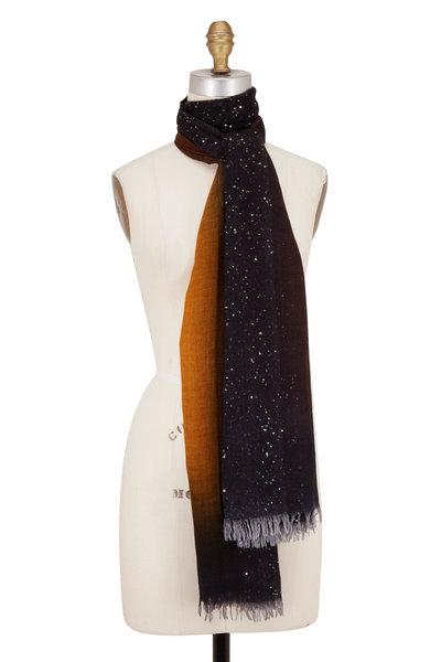 Faliero Sarti - Black Ombré Wool & Silk Paillette Scarf