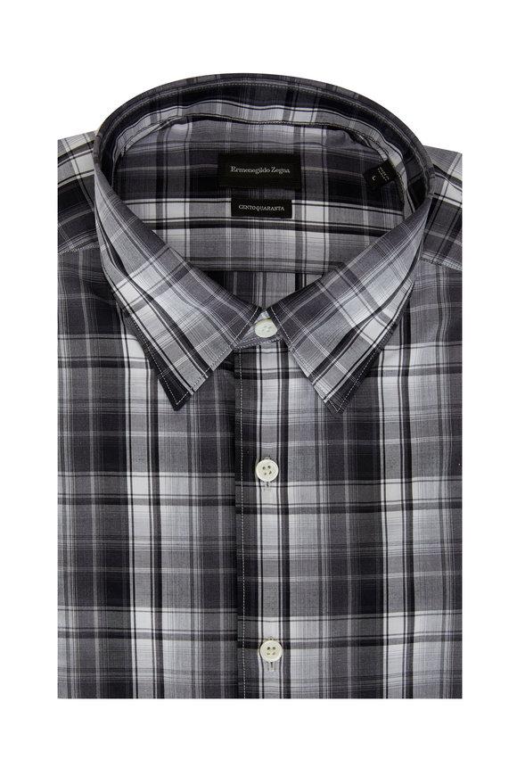 Ermenegildo Zegna Gray Tonal Plaid Classic Fit Sport Shirt