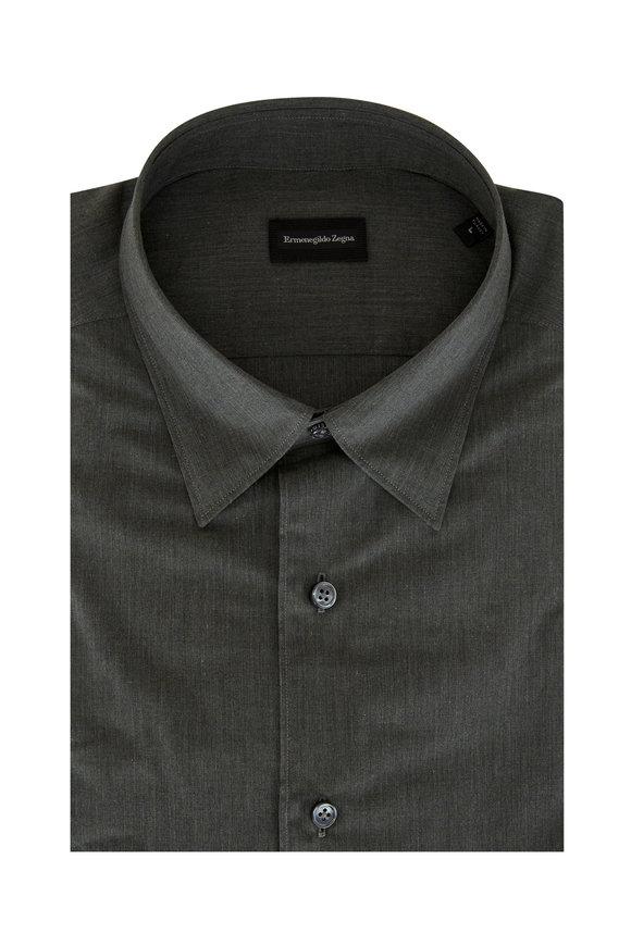 Ermenegildo Zegna Solid Olive Classic Fit Sport Shirt