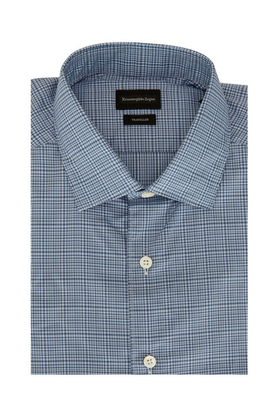 Ermenegildo Zegna - Light Blue Mini Plaid Classic Fit Sport Shirt