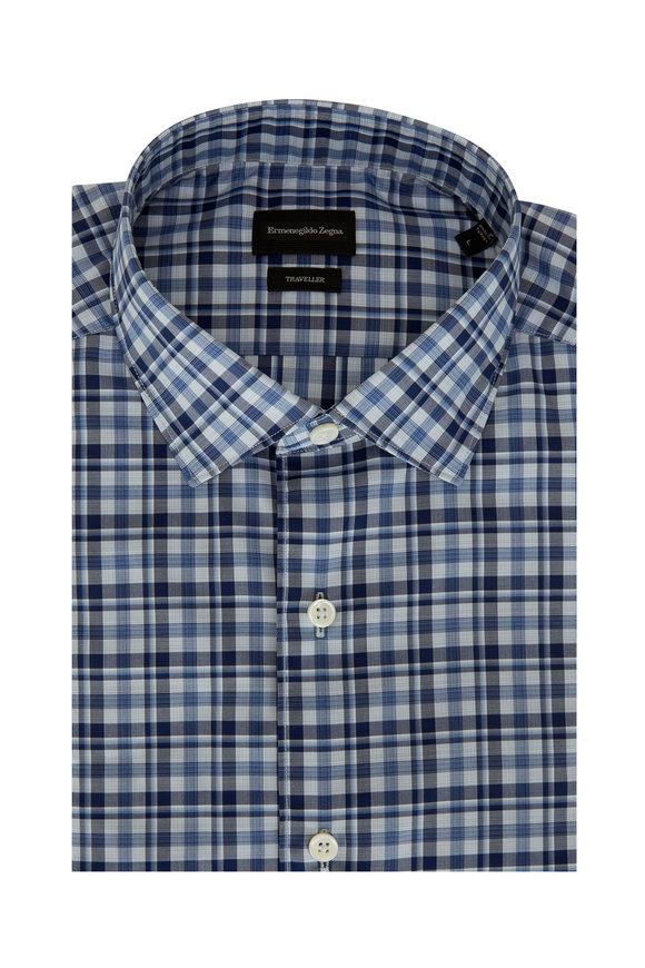 Ermenegildo Zegna Navy Blue Tonal Plaid Classic Fit Sport Shirt