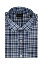 Ermenegildo Zegna - Navy Blue Tonal Plaid Classic Fit Sport Shirt