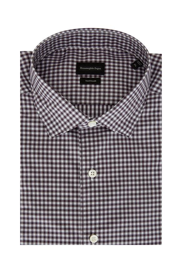 Ermenegildo Zegna Burgundy Mini Check Classic Fit Sport Shirt