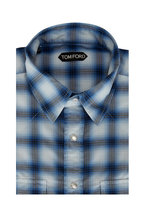 Tom Ford - Navy Blue Plaid Western Shirt