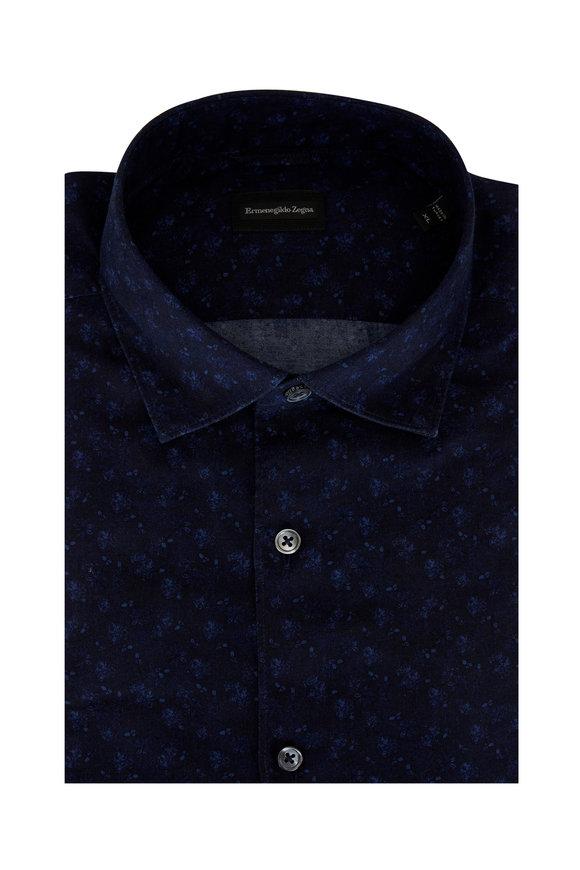 Ermenegildo Zegna Navy Blue Floral Tailored Fit Sport Shirt