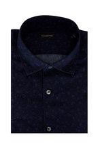 Ermenegildo Zegna - Navy Blue Floral Tailored Fit Sport Shirt