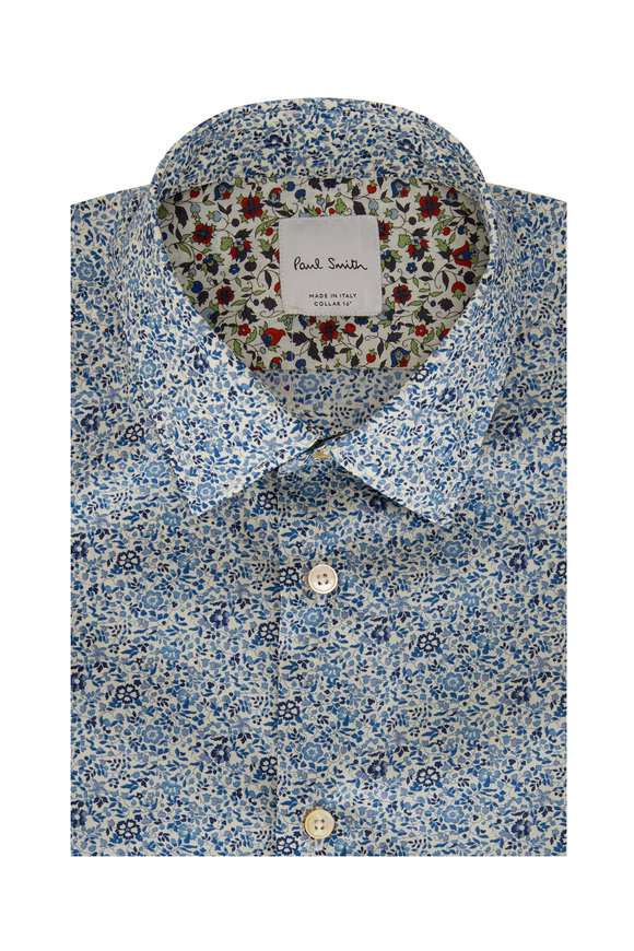 Paul Smith Blue Floral Tailored Fit Dress Shirt
