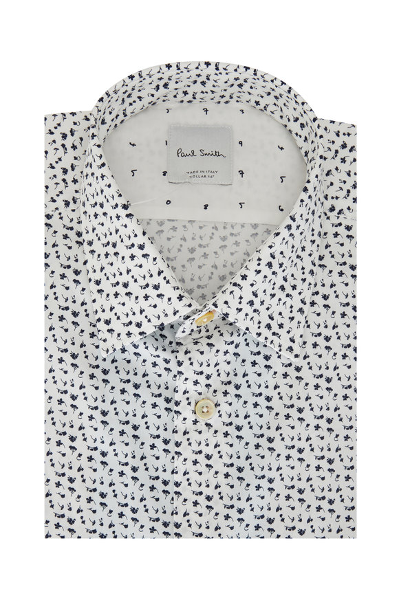 Paul Smith Navy Blue & White Floral Tailored Fit Dress Shirt