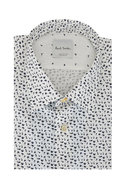 Paul Smith - Navy Blue & White Floral Tailored Fit Dress Shirt