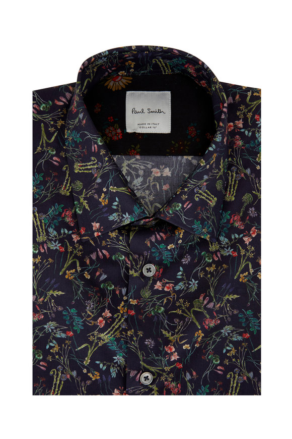 Paul Smith Navy Blue Floral Tailored Fit Sport Shirt