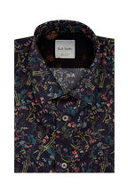 Paul Smith - Navy Blue Floral Tailored Fit Sport Shirt