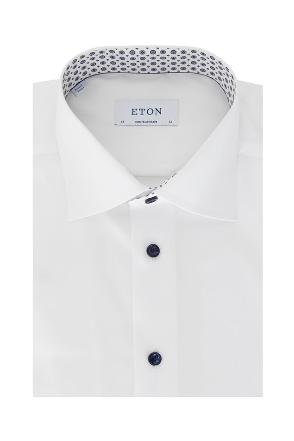 Eton Solid White Contemporary Fit Dress Shirt