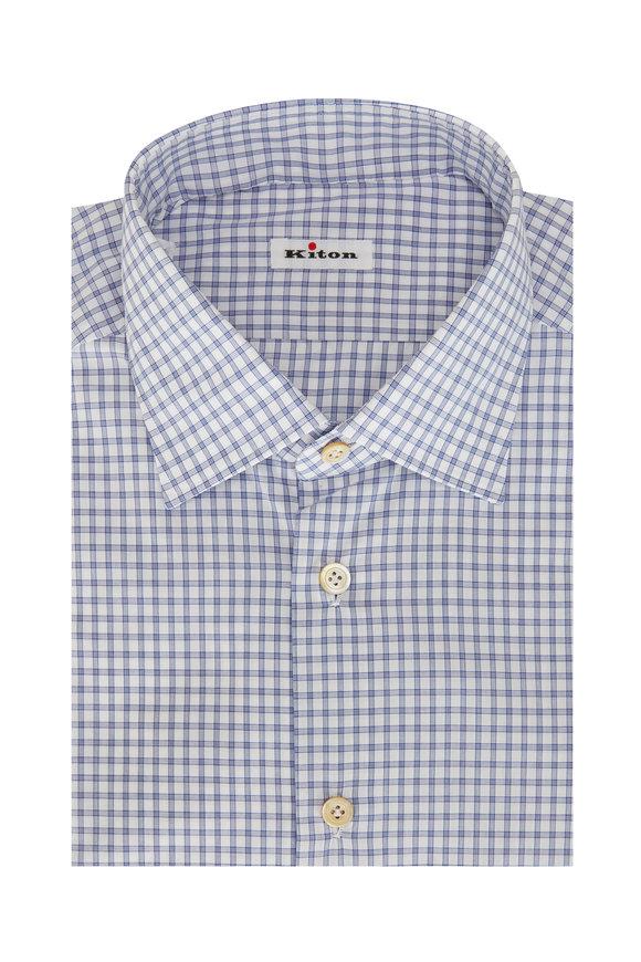 Kiton Light Blue Tattersall Dress Shirt
