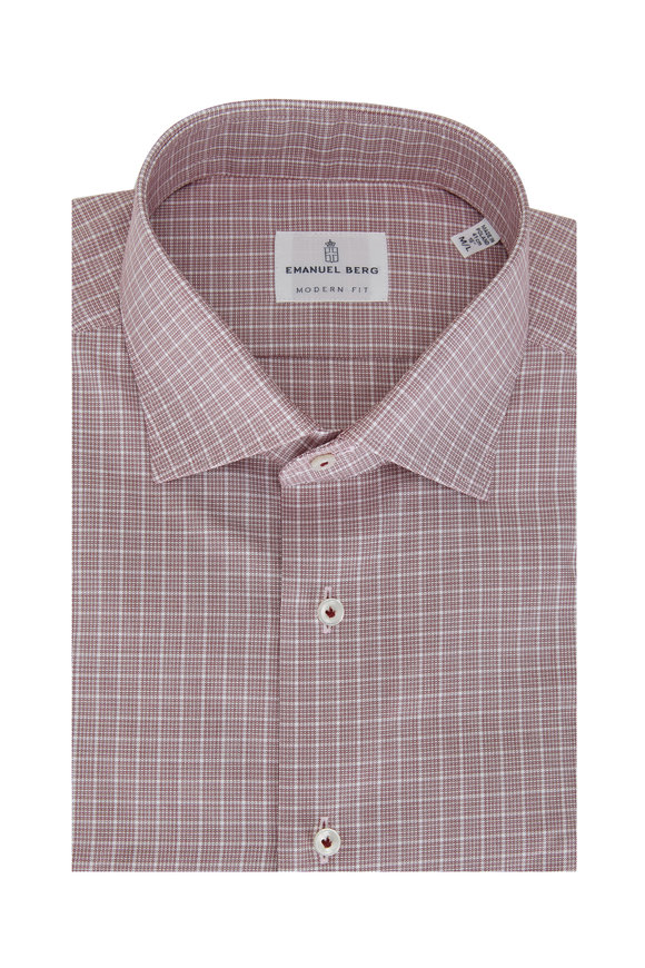 Emanuel Berg Red Plaid Modern Fit Sport Shirt