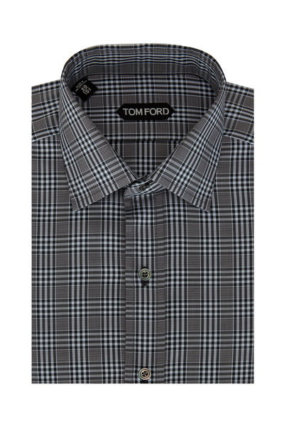 Tom Ford - Blue & Black Tonal Check Dress Shirt