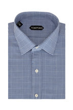 Tom Ford - Navy Blue Prince Of Wales Plaid Dress Shirt