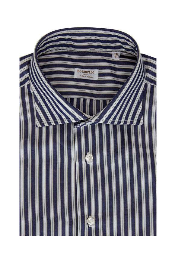 Borriello Navy Blue & Tan Striped Dress Shirt