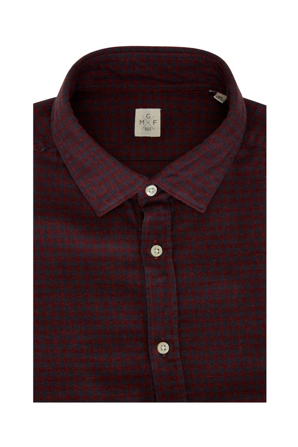 GMF Burgundy & Navy Check Sport Shirt