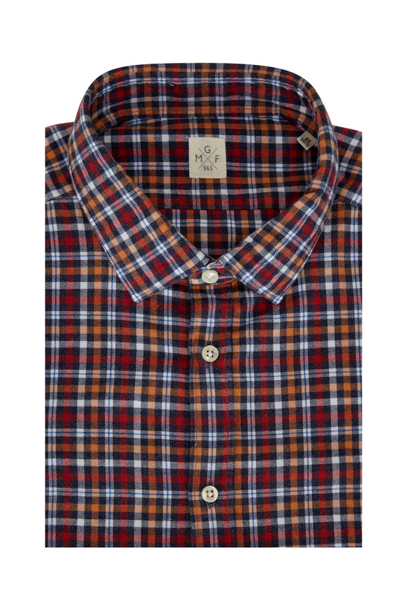 GMF Red Multi Plaid Flannel Sport Shirt