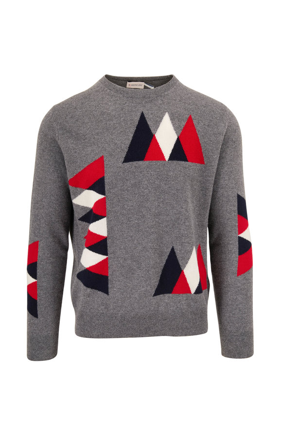 Moncler Gray Geometric Pattern Crewneck Sweater