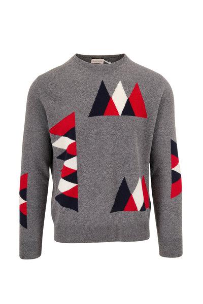 Moncler - Gray Geometric Pattern Crewneck Sweater