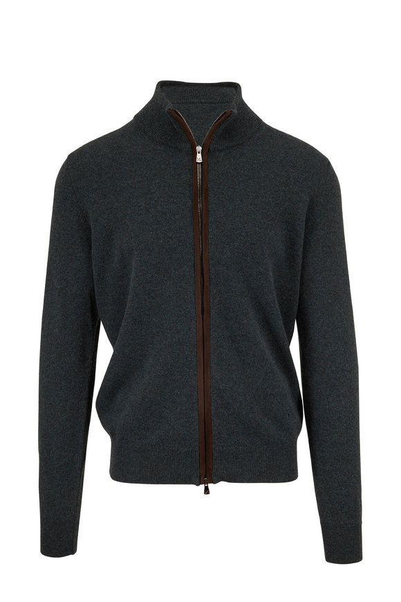 Isaia Green Cashmere Front Zip Cardigan