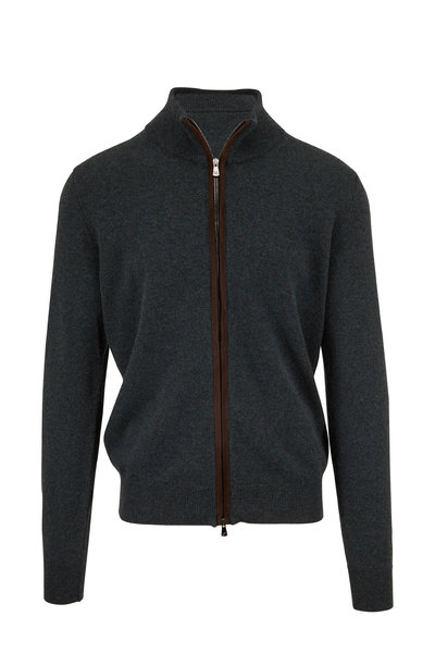 Isaia - Green Cashmere Front Zip Cardigan