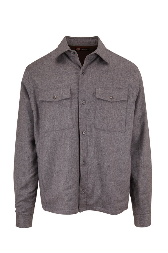 Z Zegna Gray Padded Wool Regular Fit Shirt Jacket