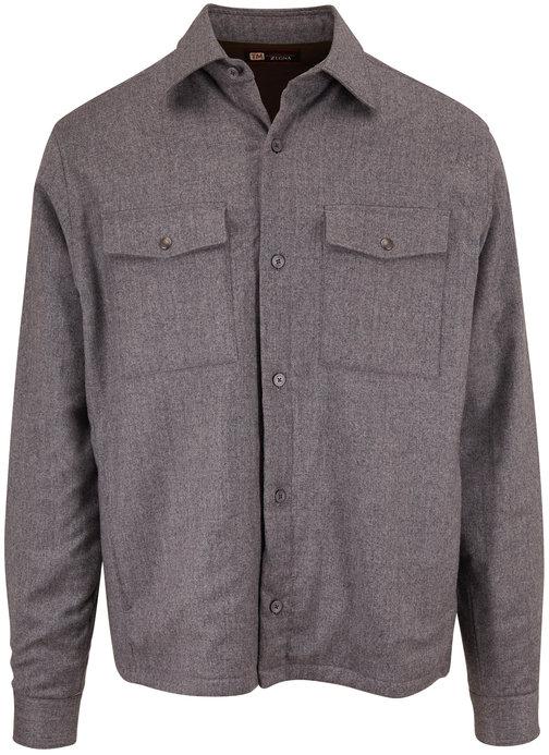 Z Zegna Gray Padded Wool Regular Fit Shirt Jacket