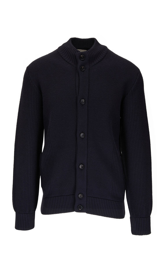 Z Zegna Navy Blue Ribbed Wool Button Cardigan