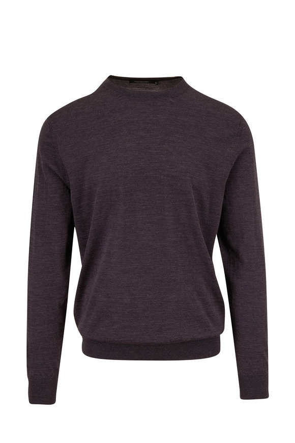 Ermenegildo Zegna Charcoal High Performance Wool Crewneck Pullover