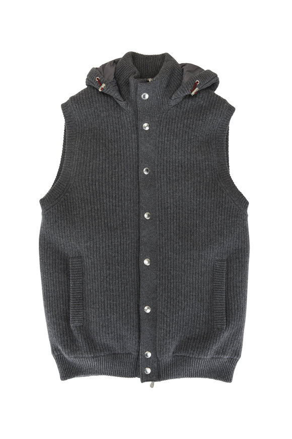 Brunello Cucinelli Charcoal Gray Cashmere Ribbed Knit Puffer Vest