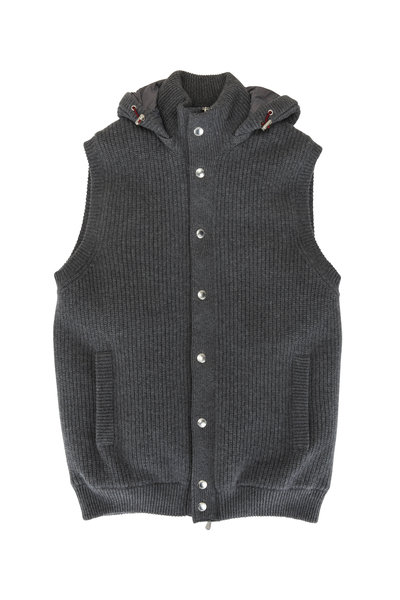Brunello Cucinelli - Charcoal Gray Cashmere Ribbed Knit Puffer Vest