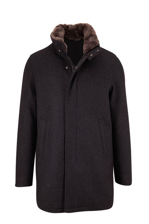 Herno Charcoal Wool Fur Collar Carcoat