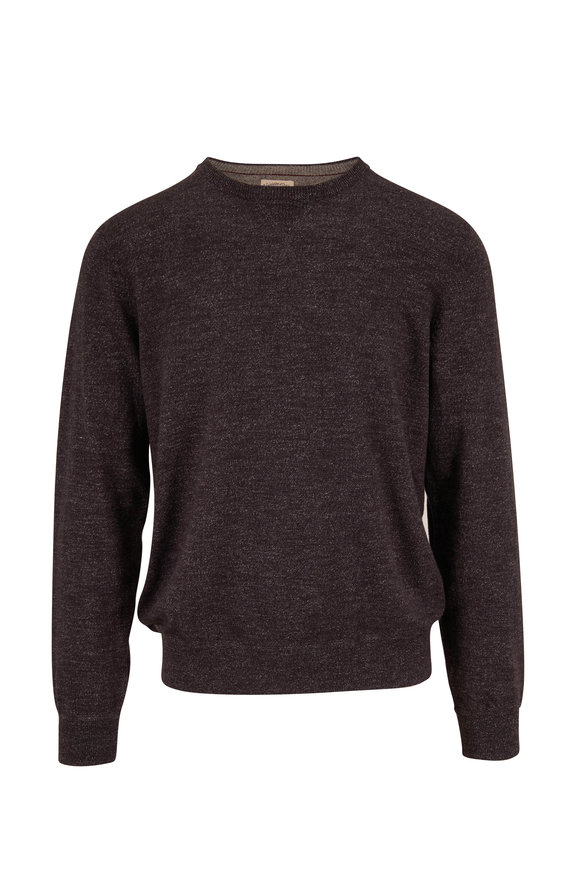 Faherty Brand Sconset Black Heather Crewneck Pullover