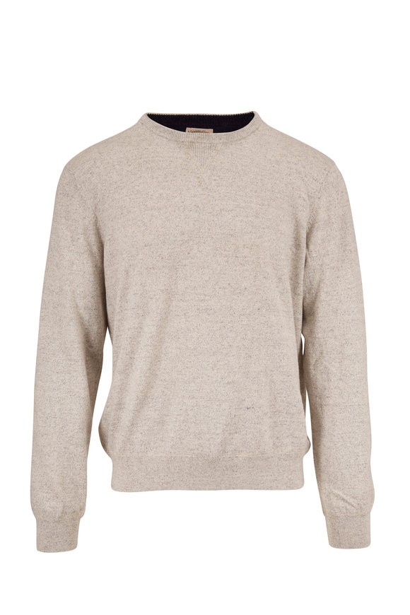 Faherty Brand Sconset Light Gray Heather Crewneck Pullover