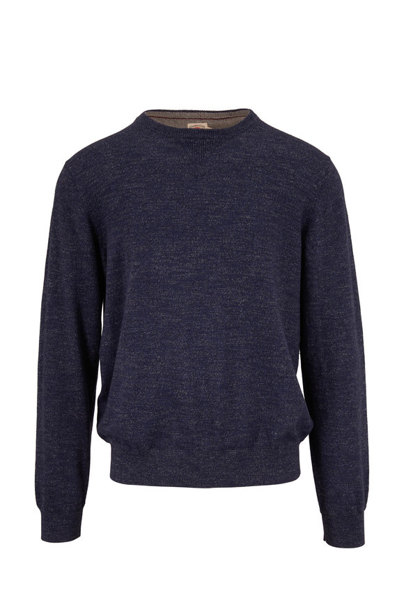 Faherty Brand Sconset Navy Heather Crewneck Pullover