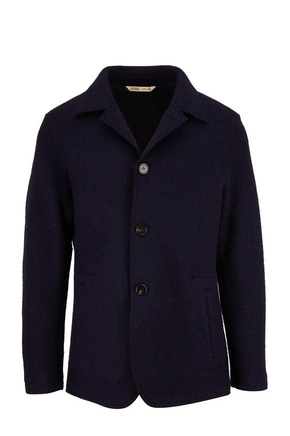 Maurizio Baldassari Navy Wool Boucle Coat