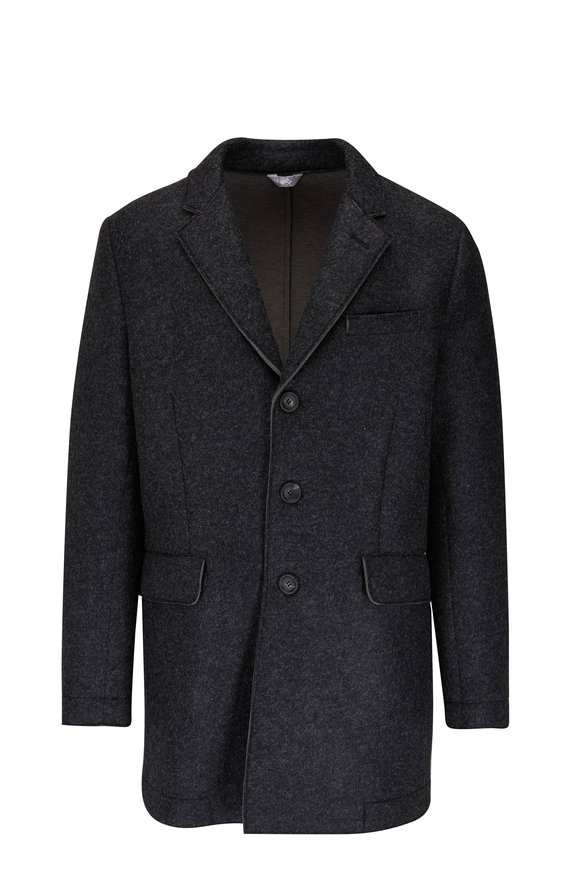 Fradi Heather Charcoal Button Front Coat