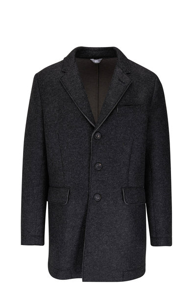 Fradi - Heather Charcoal Button Front Coat