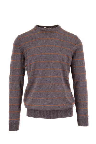 Fradi - Gray & Camel Stripe Crewneck Pullover