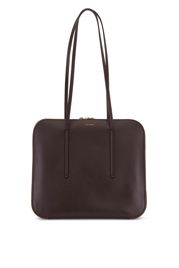 The Row TR3 Dark Chocolate Leather Shoulder Bag