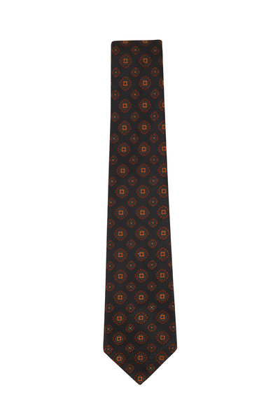 Kiton - Slate Blue & Orange Medallions Silk Necktie